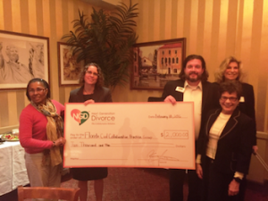 Joryn Jenkins, of Next Generation Divorce, presents $2000 in the efforts to help Collaborative Law grow in the City of Tampa!