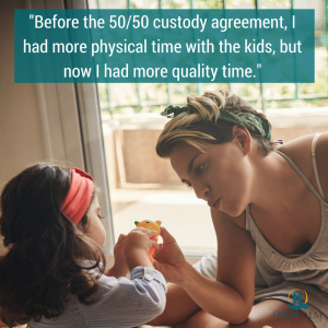 mom and daughter playing 50/50 custody open palm law