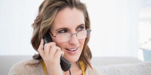 woman on a landline phone